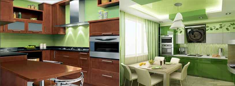 кухня зелёного цвета