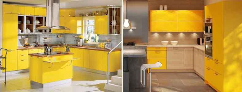 кухня с жёлтыми фасадами