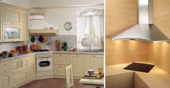угловая вытяжка на кухне