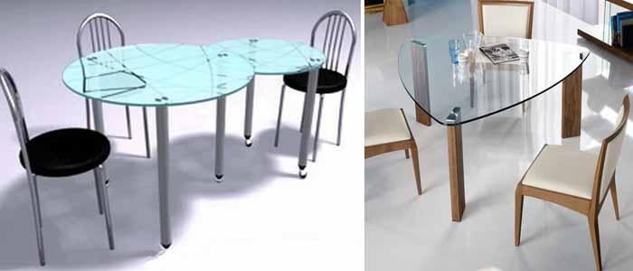 формы стеклянных столов