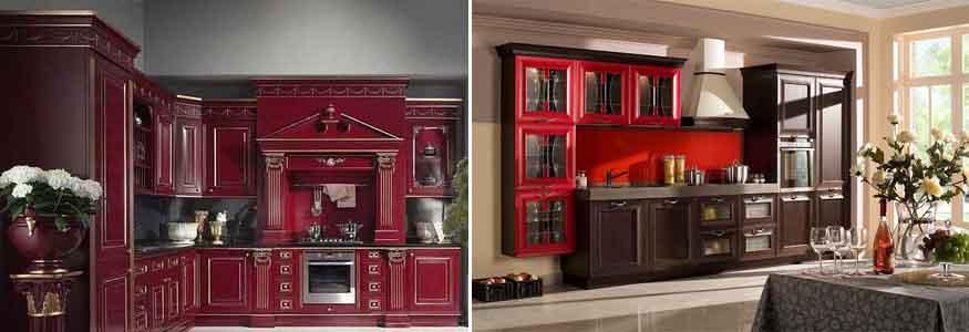 красная кухня в классическом стиле