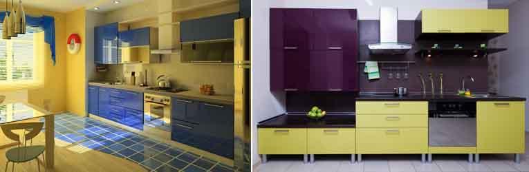 жёлтый с синим и фиолетовым