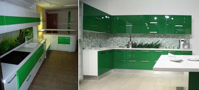 зелёно белая кухня