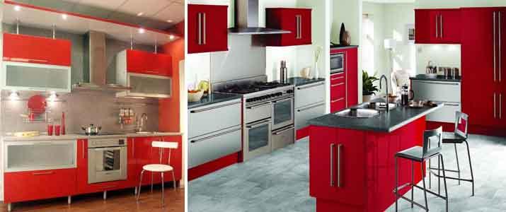 красные кухни в современном стиле