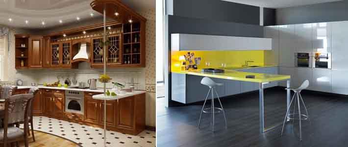 кухни фото прямые с барной стойкой