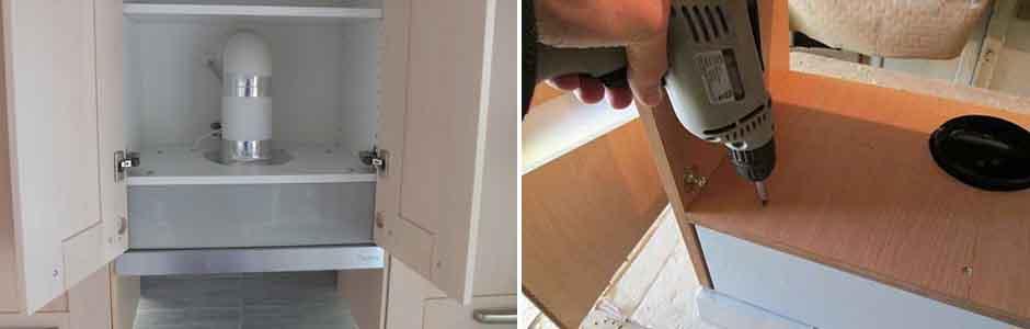 Установка встраиваемой вытяжки в шкаф своими руками 95