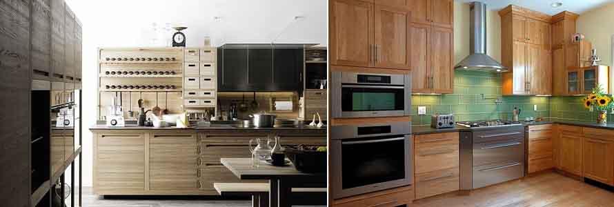 фасады из дерева на кухнях в современном стиле