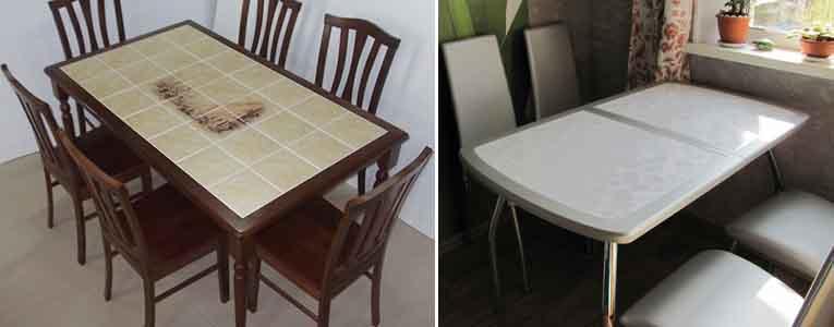 столы покрытые керамической плиткой