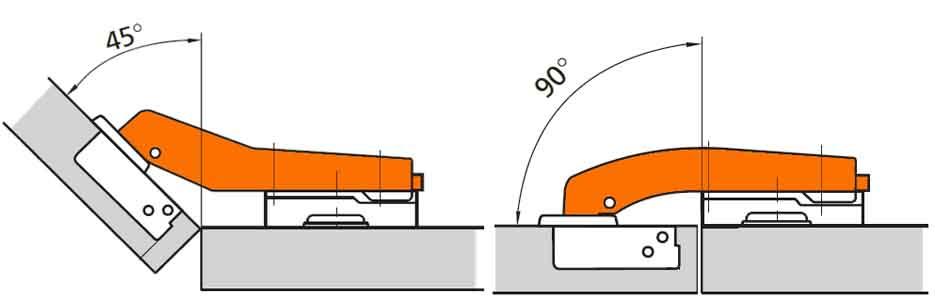 угловая и инверсная мебельные петли