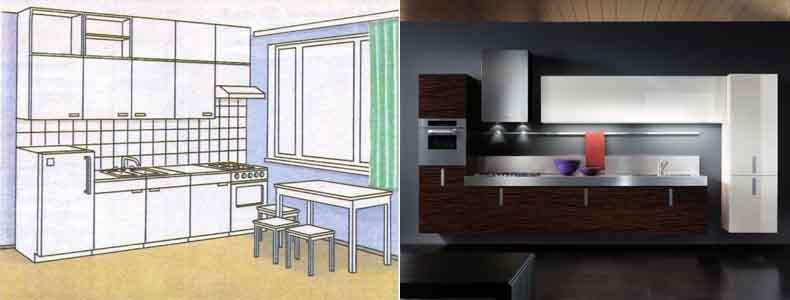 Схема однорядной кухни