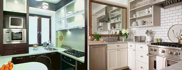 зрительное увеличение маленькой кухни