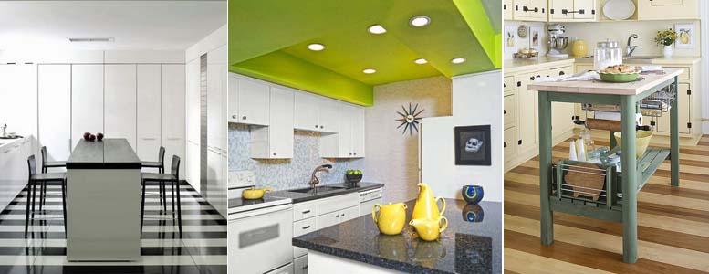 яркий потолок и полосатый пол на кухне