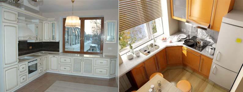 дизайн кухни вдоль окна