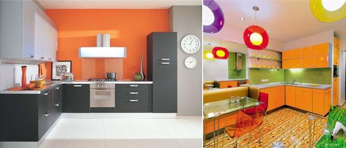 Оранжевый декор кухни