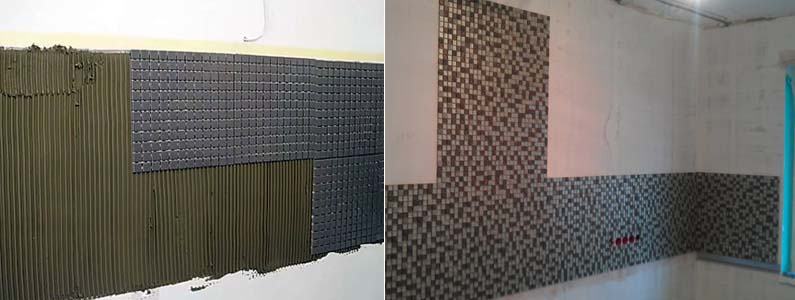укладка фартука из мозаики