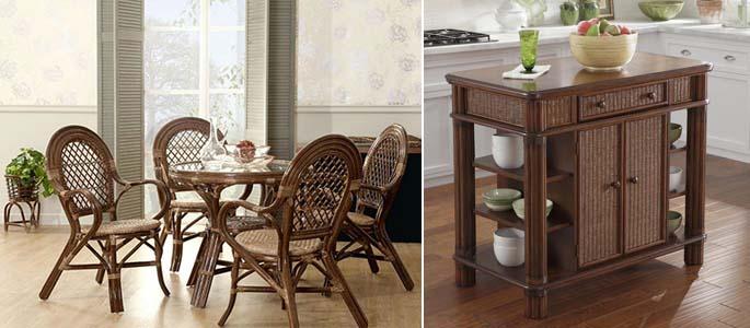 мебель из ротанга для кухни