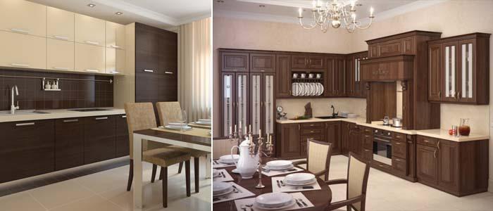 кухня коричневого цвета