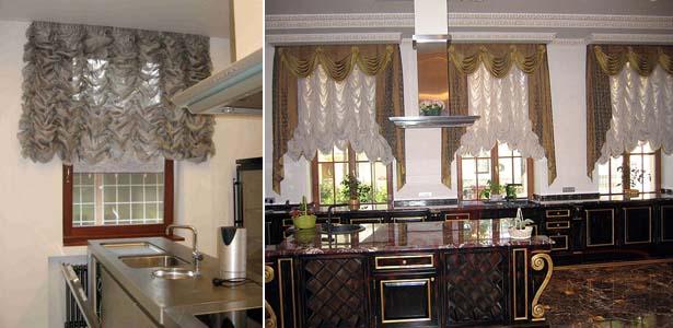 французские шторы на кухне