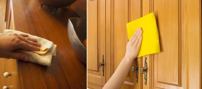 как вывести пятна с кухонной мебели