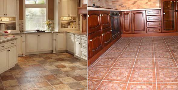 керамическая и каменная плитка на кухонном полу