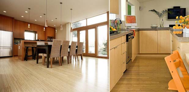 бамбуковый пол на кухне