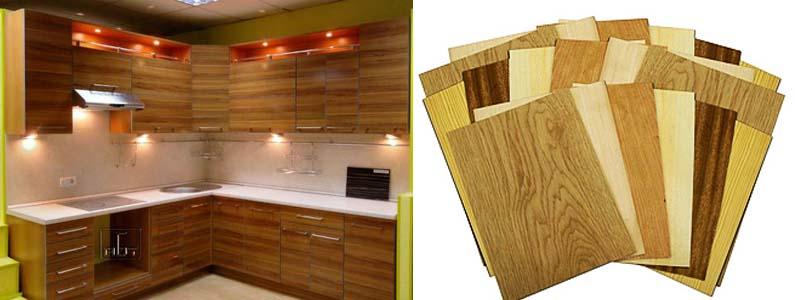 шпонированные кухонные фасады