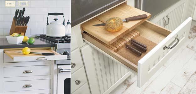 выдвижная разделочная доска на кухне
