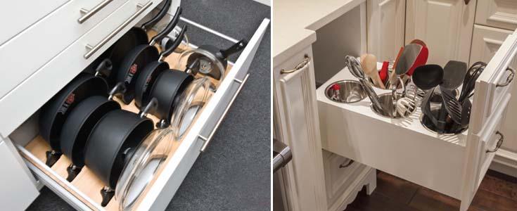хранение кухонной утвари в выдвижных ящиках