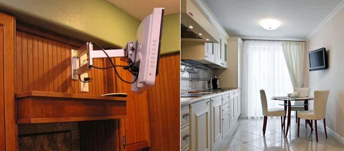 размещённый на кухне телевизор