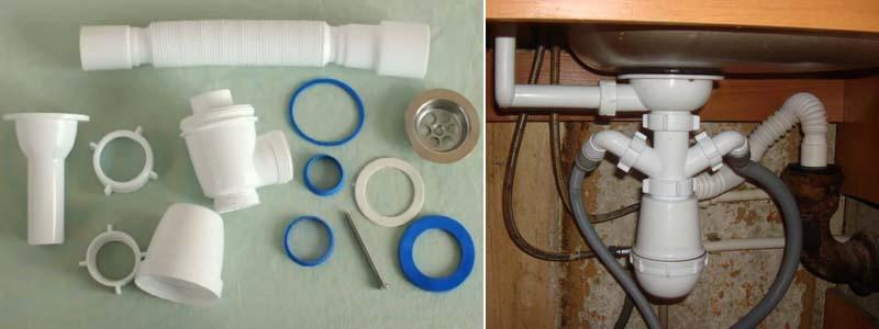 сборка и установка сифона на кухне