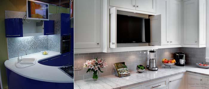 установленный на кухне телевизор