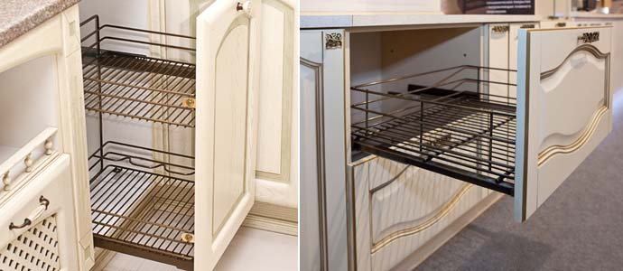 выкатные корзины на кухне