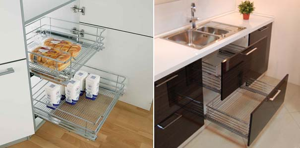 выдвижные сетки на кухне