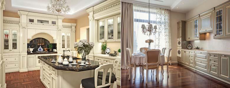 интерьер кухни в стиле классицизм