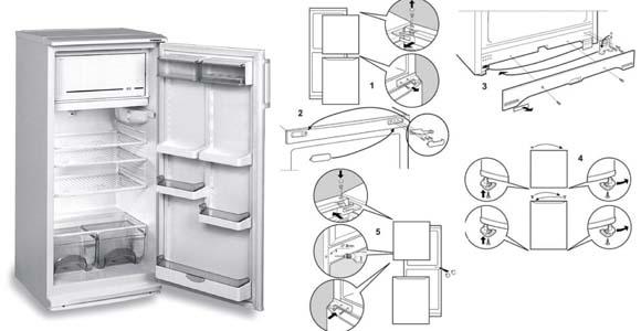 переустановить двери холодильника