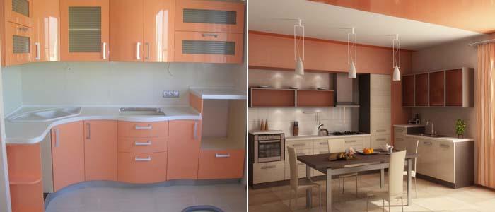 интерьер персиковой кухни