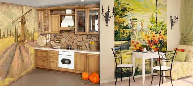 фотообои на кухне прованс