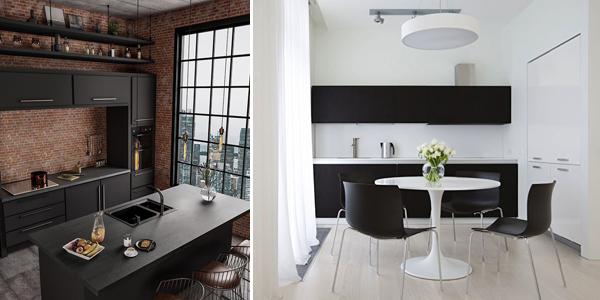 интерьер кухни чёрного цвета