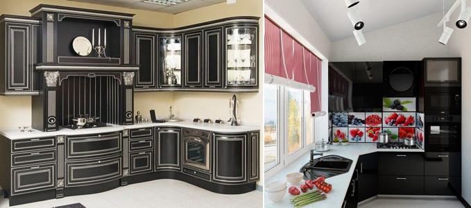 кухня чёрного цвета