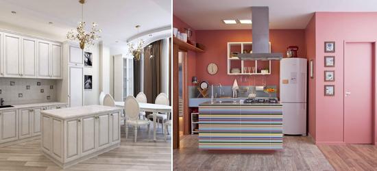 Крашенные стены на кухне